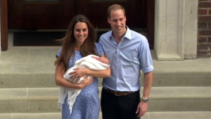 Duke and Duchess of Cambridge in their first appearance with the royal baby
